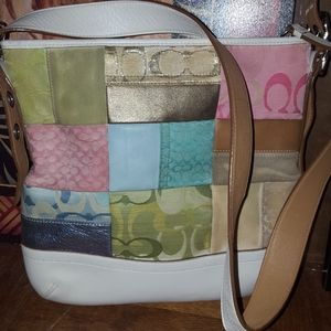Coach white large patchwork bag